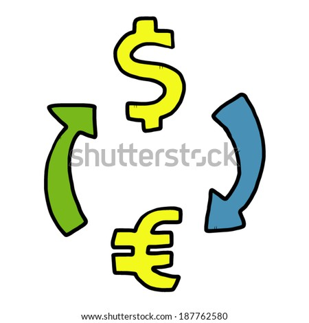 money exchange / cartoon vector and illustration, hand drawn style, isolated on white background.