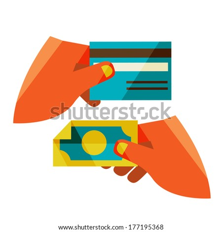 money exchange. Flat design modern vector illustration stylish colors of hand holding a business card and hand holding a coin  - stock vector
