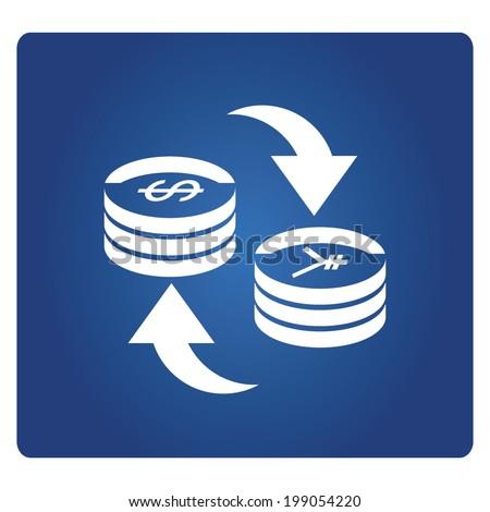 money exchange symbol, dollar and yuan currency exchange - stock vector