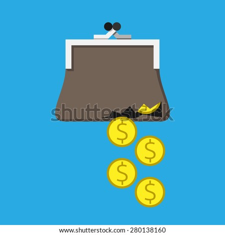 Money falling through hole in torn purse. Bad budget management, overspending, costs, expenses, losses, poverty concept. EPS 10 vector illustration, no transparency - stock vector