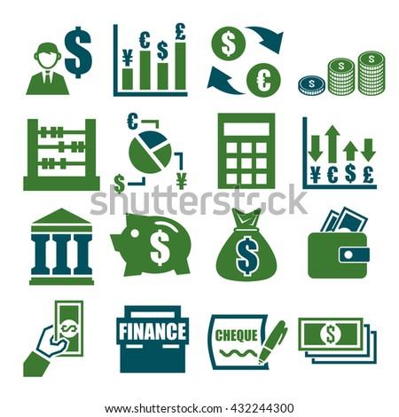 money, finance, accountant icon set - stock vector