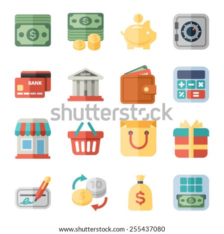 money, finance and shopping flat icons - stock vector