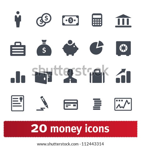 Money, finance, banking icons: vector set
