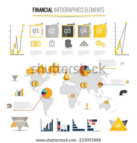 Money finance business infographic with financial icons and world map on background vector illustration - stock vector