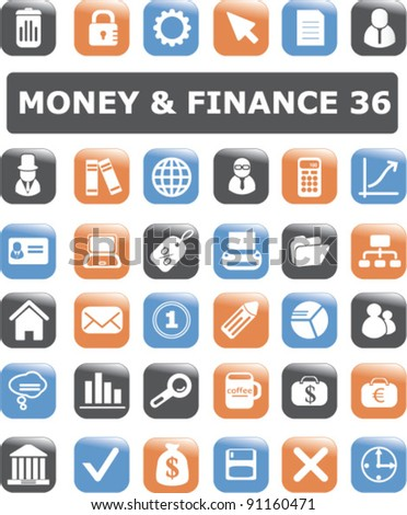 money & finance buttons set, vector illustration - stock vector