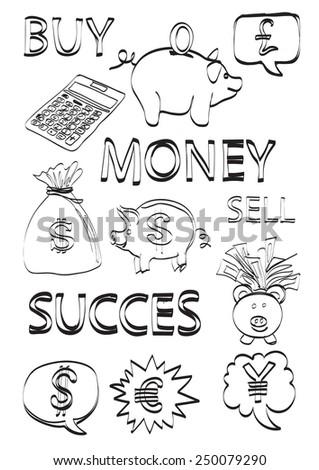Money & finance doodles  - stock vector
