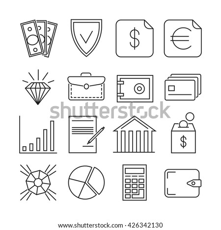 Money finance payments vector thin line icons. Finance payment money and banking exchange money illustration - stock vector