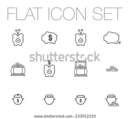 Money flat design icons set. Template elements for web and mobile applications - stock vector