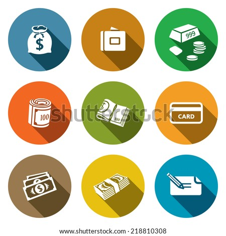 Money flat icon collection - stock vector