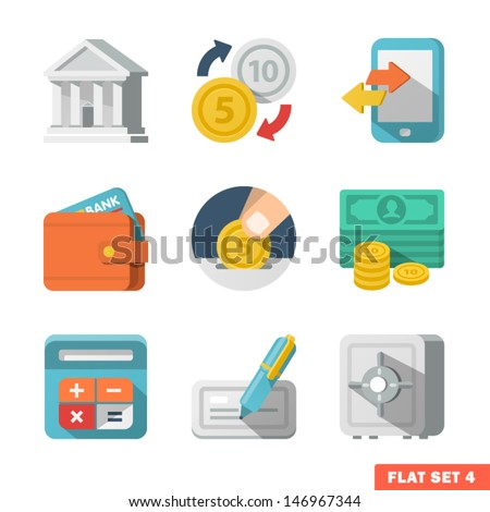 Money Flat icon set for Web and Mobile Application. - stock vector