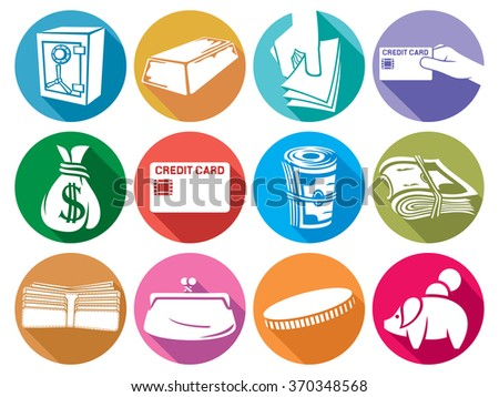 money flat icons set (finance or banking icons, money bag, hand giving money, stack of coins, wallet, safe, bullion, credit card, old purse, piggy bank) - stock vector