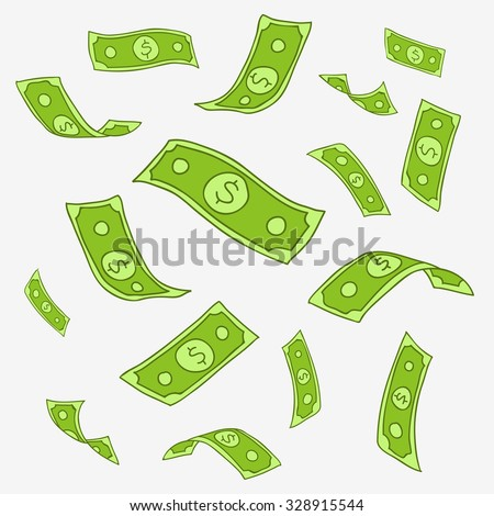 Money. Flying paper notes. Vector icons, hand-drawn. Flying money print. Pay concept. - stock vector
