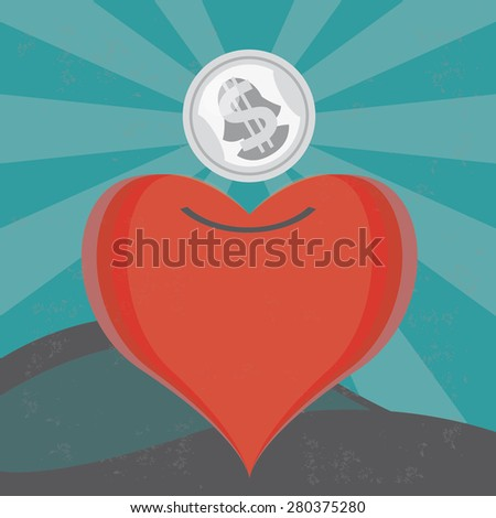 Money for a heart Illustration of the concept of a heart moneybox, or money for love. The grunge texture is removable from the background. - stock vector