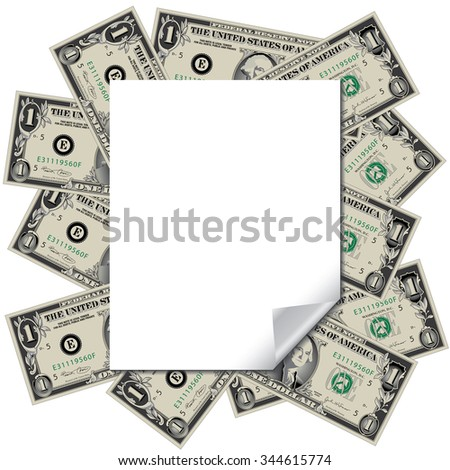 Money frames this blank page with space for your text - stock vector