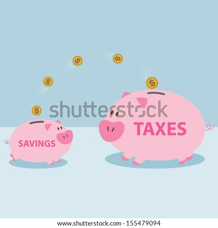 Money from piggy bank to be allowed to pay taxes. - stock vector