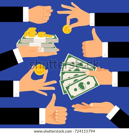 Money gestures. Hands holding money, dollars and coins cartoon vector illustration