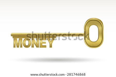 money - golden key isolated on white background