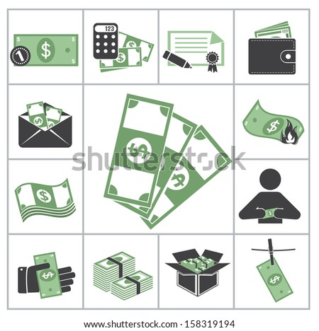 Money. Green set  - stock vector