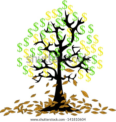 money growing on trees, dollars isolated on White background.