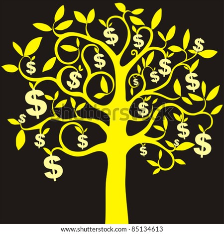 money growing on trees, dollars. Vector illustration - stock vector