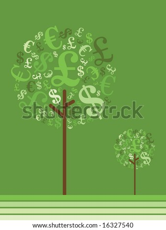 money growing on trees, various currency