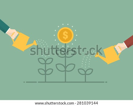 Money Growth. Flat design illustration. Business person watering money tree - stock vector