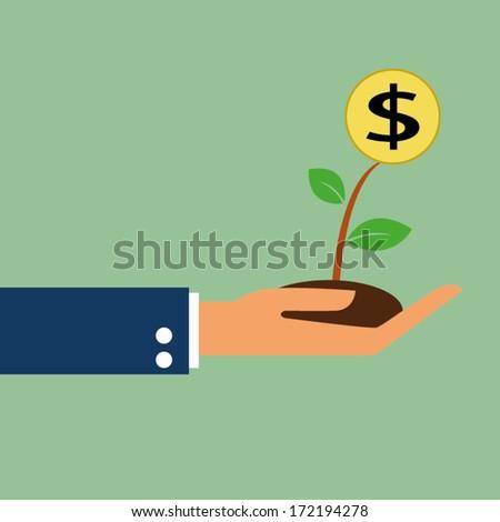 money growth in hand - stock vector