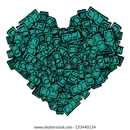 Money heart - stock vector