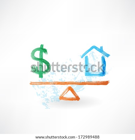 money house balance grunge icon - stock vector
