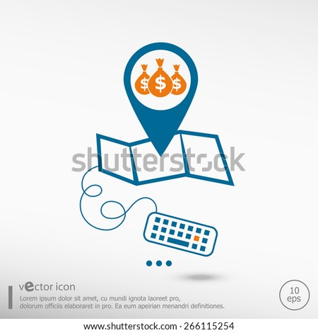 Money icon and Pin on the map. Line icons for application development, creative process. - stock vector