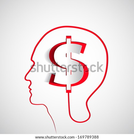 Money icon design in head think concept - vector illustration - stock vector