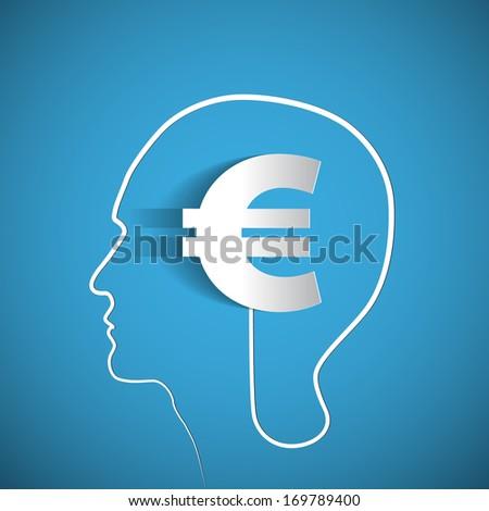 Money icon design in head think concept - vector illustration - stock vector