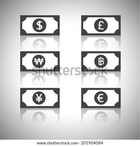 money icon - dollar, euro, yen, pound,won,baht - stock vector