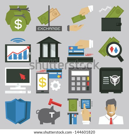 money icon set, vector - stock vector