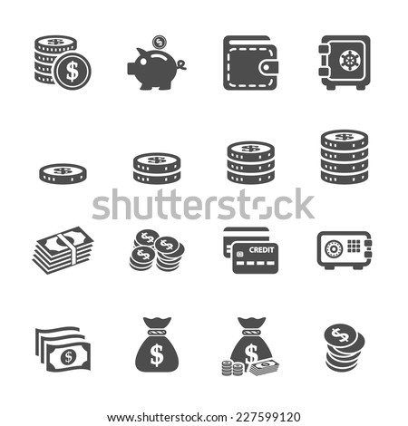 money icon set, vector eps10  - stock vector