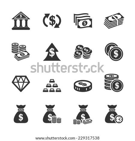 money icon set, vector eps10. - stock vector