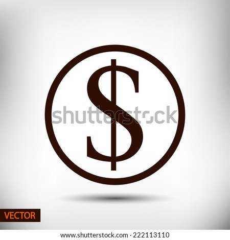 Money icon, vector illustration. Flat design style - stock vector
