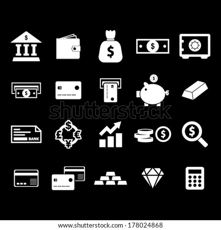 Money Icon - White - stock vector