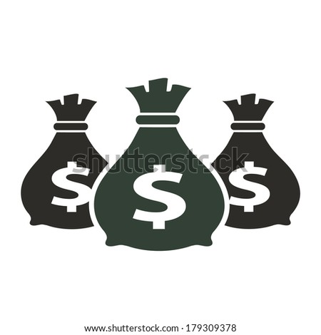 Money icon with three bags, vector illustration. - stock vector