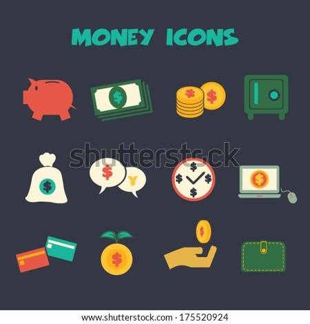 money icons, colorful vector symbols  - stock vector