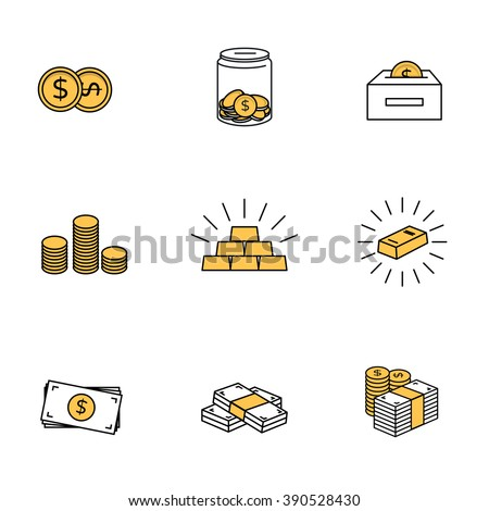 Money icons. Dollar bank notes, coins and gold bars. - stock vector