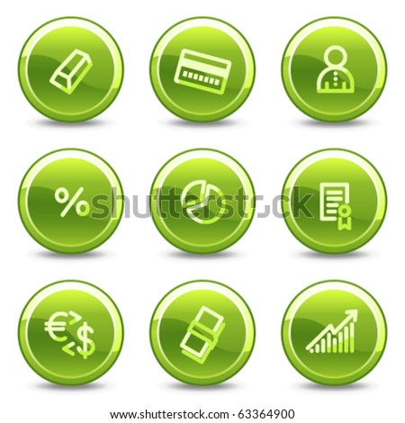 Money icons , green circle glossy buttons - stock vector