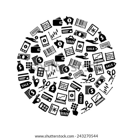 money icons in circle - stock vector