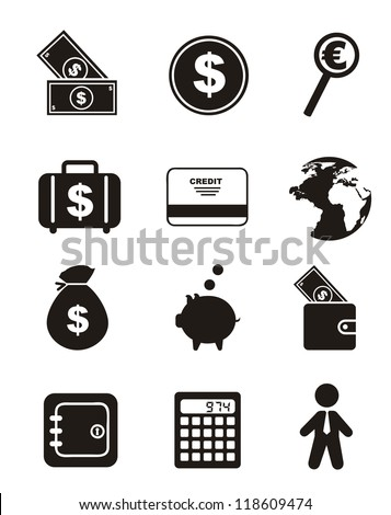 money icons over white background. vector illustration - stock vector