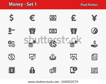 Money Icons. Professional, pixel perfect icons optimized for both large and small resolutions. EPS 8 format. - stock vector