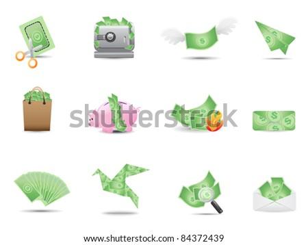 money icons set - stock vector