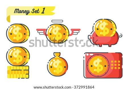 Money icons set 1,concept of money - stock vector