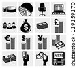 Money icons set .Finance icon set. Vector - stock photo