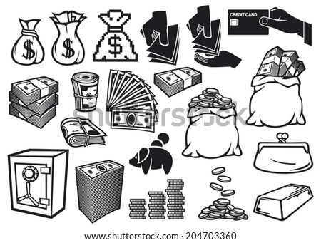 money icons set (finance or banking icons, money bag, bag with coins, hand giving money, safe, bullion, money roll, big stack of money, stack of coins, credit card, old purse, piggy bank) - stock vector