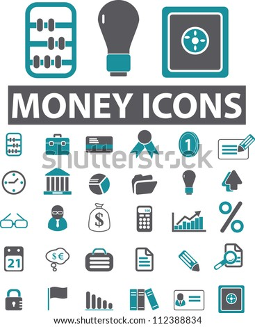 money icons set, vector - stock vector
